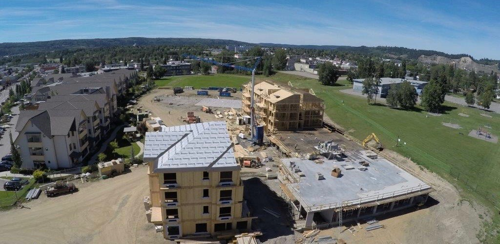 Bird's eye view of construction at RiverBend in Prince George, BC.